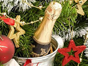 Papéis de parede Feriados Ano-Novo Vinho espumante Estrela Galho