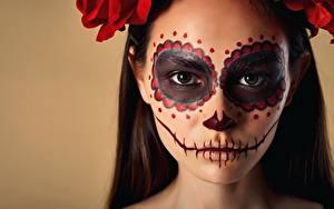 Bilder Feiertage Gesicht Schminke Day of the Dead, Nikita Orlov, Marina Marsalova junge frau