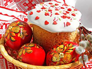 Fotos Feiertage Ostern Kulitsch Backware Zuckerguss Eier Design