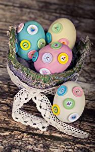 Fotos Feiertage Ostern Bretter Weidenkorb Ei Design Band