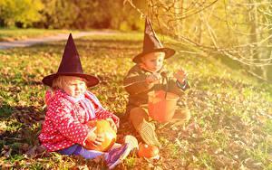 Hintergrundbilder Feiertage Halloween Kürbisse 2 Jungen Kleine Mädchen Der Hut Sitzend Kinder