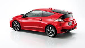 Desktop hintergrundbilder Honda Grauer Hintergrund Seitlich Rot Coupe Hybrid Autos CR-Z, Hybrid (2010-2016) Autos