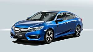Fotos Honda Blau Limousine Grauer Hintergrund Civic Sedan, 2016 auto