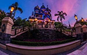 壁纸、、香港、公園、ディズニーランド、建物、夕、デザイン、街灯、ヤシ、低木、都市