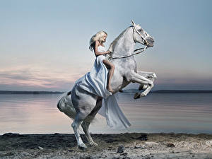 Pictures Horses Coast Blonde girl Gown Animals Girls