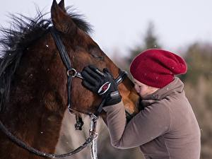 Bilder Pferde 2 Küsst Hand Handschuh Mütze Mädchens