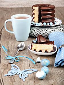 Bilder Kakao Getränk Torte Schokolade Schmetterlinge Tasse Stücke Löffel Herz Ei