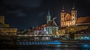 Fotos Gebäude Österreich Fluss Nacht Steyr Städte