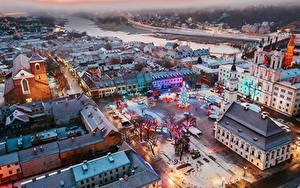 Fotos Gebäude Neujahr Litauen Kaunas Von oben Platz Tannenbaum Städte