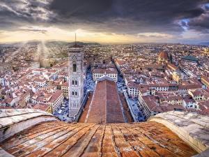 Hintergrundbilder Gebäude Florenz Italien Dach Von oben HDR Türme Cupola di Santa Maria del Fiore, Firenze e Campanile di Giotto Städte