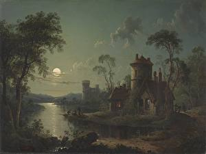 Wallpaper Houses Lake Pictorial art Moon Trees River Scene (1840) by Sebastian Pether