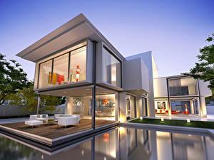 Fotos Haus Herrenhaus Design Schwimmbecken High-Tech stil 3D-Grafik