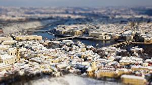 Bilder Haus Prag Tschechische Republik Von oben Unscharfer Hintergrund Städte