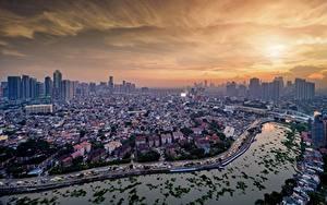 Hintergrundbilder Gebäude Flusse Brücke Philippinen Von oben Manila, Pasig River Städte