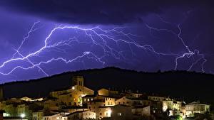 Hintergrundbilder Haus Himmel Naturkraft Nacht Blitz Städte