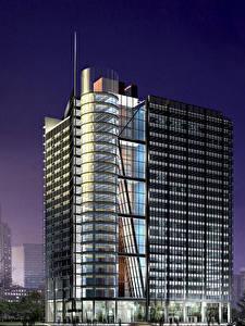 Fotos Gebäude Wolkenkratzer 3D-Grafik Städte