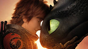 Bureaubladachtergronden How to Train Your Dragon Een draak Close-up Jonge man 3, Icking, Night Fury Cartoons