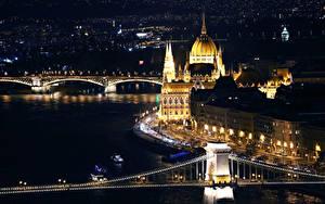 Hintergrundbilder Ungarn Budapest Gebäude Fluss Brücke Nacht