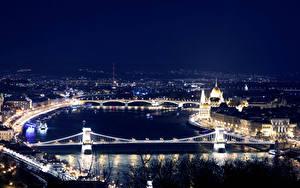 Fotos Ungarn Budapest Gebäude Flusse Brücke Nacht Von oben