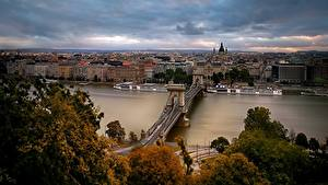 Desktop hintergrundbilder Ungarn Budapest Flusse Brücken Haus Chain Bridge, Danube River, St. Stephen's Basilica Städte