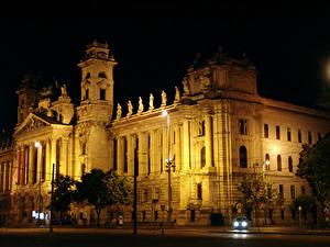 Hintergrundbilder Ungarn Gebäude Budapest Nacht Straßenlaterne