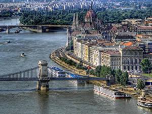Hintergrundbilder Ungarn Haus Flusse Brücke Budapest