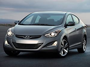 Bureaubladachtergronden Hyundai Vooraanzicht Sedan Grijze Metallic Elantra 2014 auto's