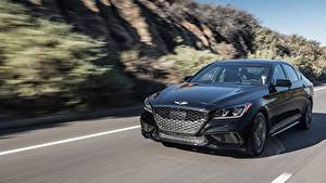 Fotos Hyundai Fahrendes Schwarz Vorne Limousine Metallisch Bokeh Genesis, G80 Sport US-spec Autos