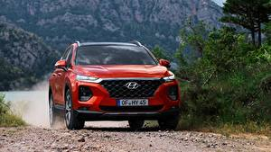 Bilder Hyundai Vorne Rot Bewegung Softroader Santa Fe, 2018 automobil