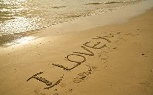 Fotos Strände Sand Text Englisch I love you
