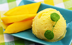 Pictures Ice cream Sweets Mango Balls Yellow Food