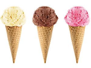 Photo Ice cream White background Three 3 Ice cream cone Multicolor Food
