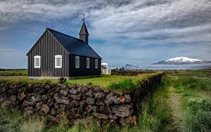 Desktop hintergrundbilder Island Kirche Wolke Dorf Schwarz  Städte
