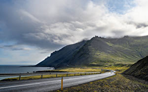 Picture Iceland Coast Roads Mountain Clouds