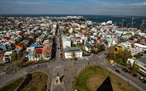 Bilder Island Gebäude Von oben Straße Platz Reykjavik Städte