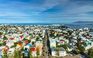 Hintergrundbilder Island Haus Meer Von oben Straße Horizont Reykjavik Städte