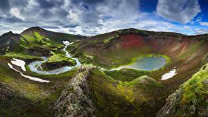 Desktop hintergrundbilder Island Berg Wolke Fjallabak Natur