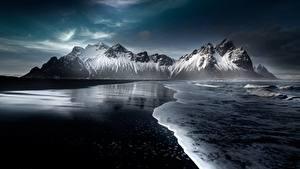 Fotos Island Gebirge Schnee Strand Hofn, Austurland