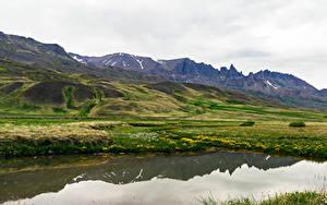 Hintergrundbilder Island Gebirge See Hügel Laubmoose Snaefellsnesog Hnappadalssysla