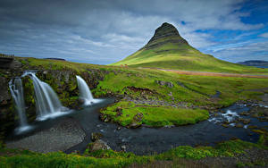 Bilder Island Gebirge Wasserfall Wolke Kirkjufell