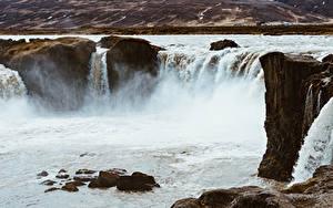Bilder Island Fluss Wasserfall Steine Godafoss, Northeast, river Schallwandler