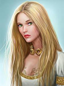 Fotos Illustrationen für Bücher Blondine Haar Starren Schöne Asterith Dragonclore Fantasy Mädchens