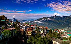 Wallpaper India Mountain Sky Houses Clouds Gangtok, Sikkim Nature