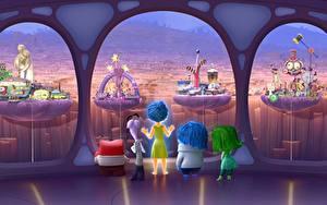 壁纸、、インサイド・ヘッド、Anger Disgust Fear Joy Sadness Pixar Disney、