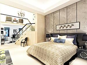 Fotos Innenarchitektur Schlafkammer Design Bett Kissen 3D-Grafik