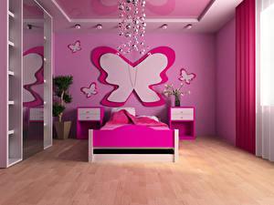 Bilder Innenarchitektur Kinderzimmer Schmetterlinge Design Bett