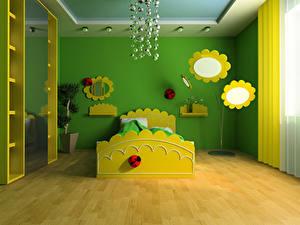 Bilder Innenarchitektur Kinderzimmer Design Bett 3D-Grafik