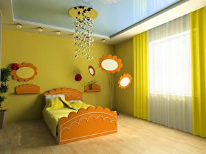 Pictures Interior Children's room Design Bed Chandelier 3D Graphics