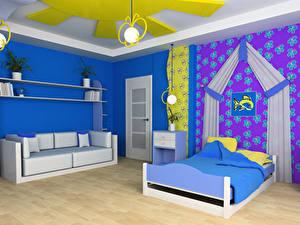 Bilder Innenarchitektur Kinderzimmer Design Bett Sofa