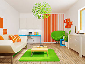 Pictures Interior Children's room Design Sofa Armchair Chandelier 3D Graphics